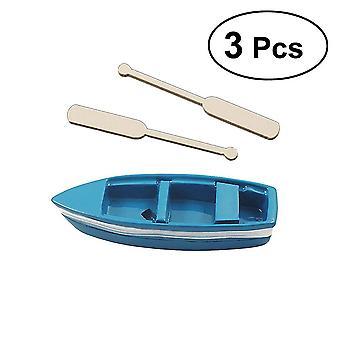 3pcsマイクロ風景クリエイティブホームアーツクラフト小さな樹脂ボートオールオーナメント