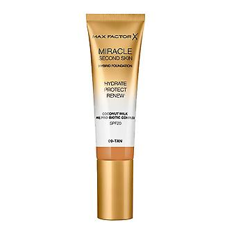 Max Factor Miracle Second Skin Foundation Hydrate Protect Renew SPF20 30ml Tan #09