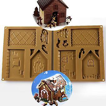 Santa House Bakery Silicone Mold Christmas Gingerbread House Silicon Mold Set