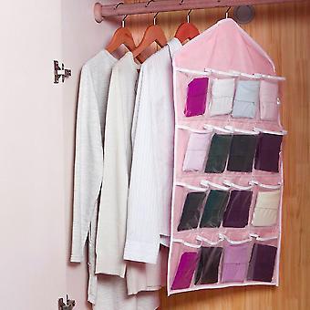 Large Capacity 16 Grids Wardrobe Hanging Organizer Bras Socks Storage Bag