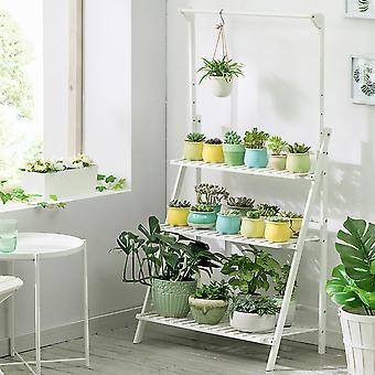 Étagère végétale pliable de 3 niveaux avec barre suspendue