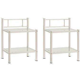 vidaXL nattbord 2 stk. hvit gjennomsiktig metall og glass