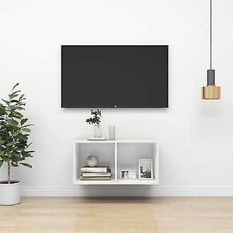 "vidaXL טלוויזיה קיר ארון מבריק גבוה לבן 37x37x72 ס""מ שבב"