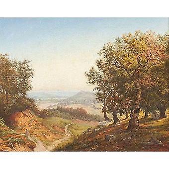 Blick aus dem Wald ins Tal,Andreas Achenbach
