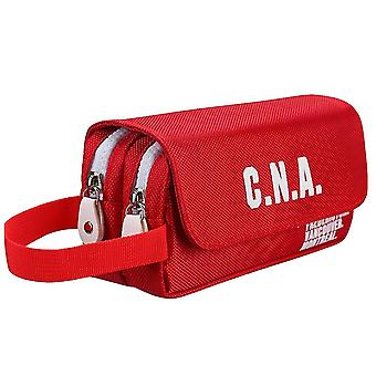Creative large-capacity canvas pencil case for elementary and middle school students(Red)