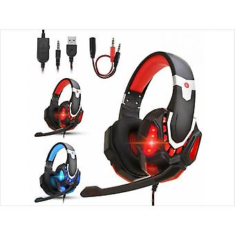 Gaming Headset Mic Led Stereo Bass Surround Headphone For Ps5/ps4/xbox One/pc(red)