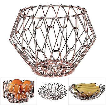 Fruit Basket muunnettava metalli lanka hedelmä kori koristeellinen joustava Stainess teräs varastointi