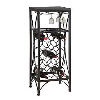 "12.5"" x 16.25"" x 40.5"" Black Metal Wine Bottle and Glass Rack Home Bar"