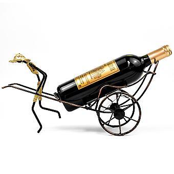 Hombre con sombrero de paja Rickshaw Wine Stand Retro Iron Wine Holder Cerveza Decoración de metal para el dormitorio