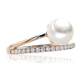 Luna Pearls Akoya Pearl Ring 7.5-7mm 14K RG 21 Brill. 0.23 ct. Gr 56 (17.8mm)