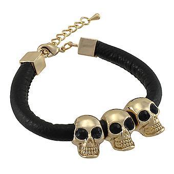 Rounded Vinyl Bracelet with Gold Tone Skull Beads
