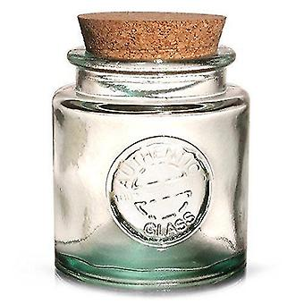 Storage tanks authentic recycled glass storage jar with cork lid 250ml - vintage 100% recycled green glass