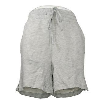Danskin Women's Shorts Reg Cotton w/Drawstring Solid Gray