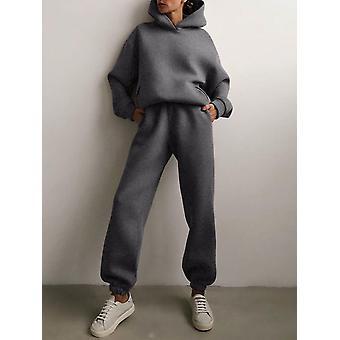Damen Trainingsanzug Herbst Plus Fleece Sweatshirts Zweiteiliges Set Casual Oversized Solid Female Sports Hoodie Anzug Lange Hose Sets