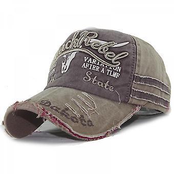 Gorra de béisbol de cabeza de toro viejo, sombrero lavado, visor deshilachado, nuevo gorro de béisbol para hombres y mujeres caqui
