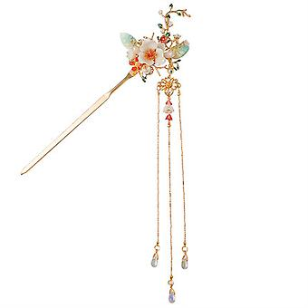 Bride Headdress Crystal Hanfu Headdress Accessories Ancient Style Leaf Flower Butterfly Hairpin Tassel Hair