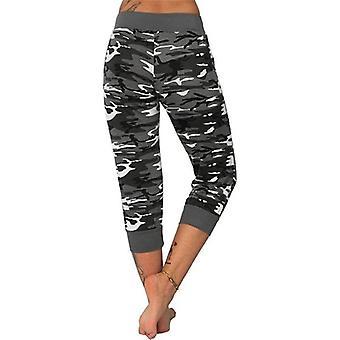 Womens Mid Waist Camouflage Yoga Capri Pants Sports Leggings
