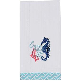 Enjoy Life in the Sun Seahorse Embroidered Waffle Kitchen Dish Towel