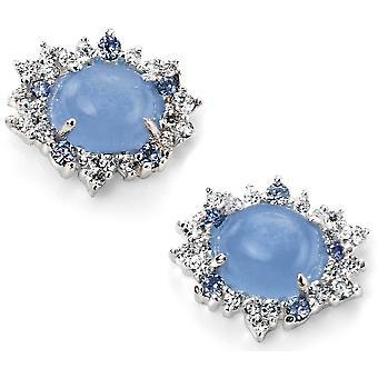 Gatto blu argento 925 e orecchini di zirconio