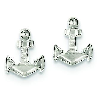 925 Sterling Silver Solid Polished Nautical Ship Mariner Anchor Mini pour les garçons ou les filles Boucles d'oreilles