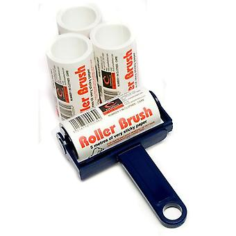 Navy Blue Caraselle Trident Sticky Roller Brush and 3 Refills (20m)