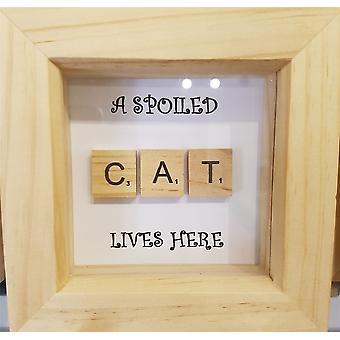 Wee Bee Handmade Spoiled Cat in Pine Frame