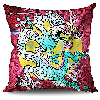 Dragon Oriental Linen Cushion 30cm x 30cm | Wellcoda