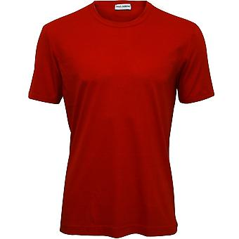 Dolce & Gabbana Cotton Modal Crew-Neck Branded T-Shirt, China Red