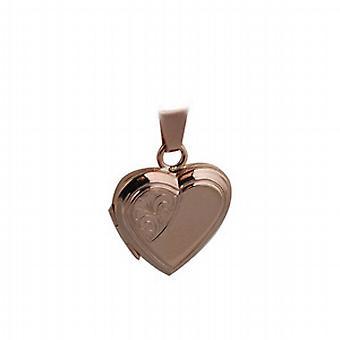 9 kt Rose Gold 17x17mm halv hånd graveret flad hjerteformet medaljon