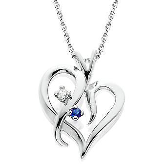 Blauer Saphir & Diamant Herz Anhänger 14 KT Weißgold mit 18