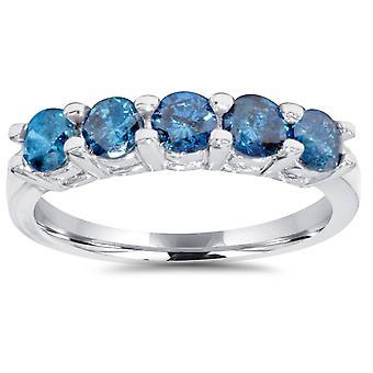 3 / 4ct blauer Diamant Ehering 14K Weißgold