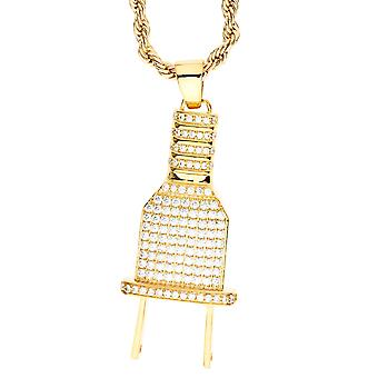 Iced Out Bling Micro Pave Kette - NETZSTECKER gold