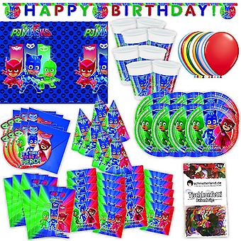 PJ masks party set XL for 6 guests PJ Masksparty 73-teilig birthday decoration party package