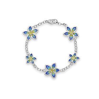 Sterling Silver Happy Valley Flower & Petals Design Bracelet - Yellow Cubic Zirconia Stones