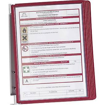 Kestävä näyttö Board seinä teline VARIO WALL 5-5551 punainen A4 ei. näyttö levyjen määrä 5