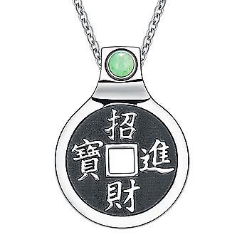 風水ラッキー コインお守り漢字マジックや占い力のユニークな魅力緑水晶 18 ネックレス