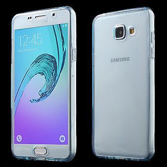 Gevaldekking van het kristal voor Samsung Galaxy A3 2016 blauw frame volledige body