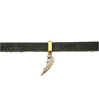 -Banhado a ouro pulseira - proteção Angel - asas - 925 prata - cinzento chapeado ouro - fechadura magnética - desejos - antracite-