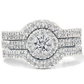1 1 / 10ct Runde Diamanten Engagement passenden Trauring Set weiße Gold 14K