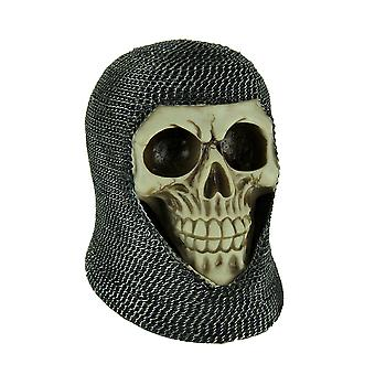 Evil Skull in Medieval Chainmail Coif Statue