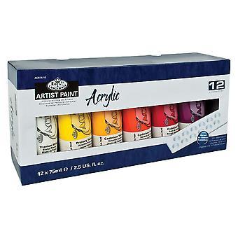 Royal & Langnickel akryl färg anger 12 x 75ml rör med Bonus palett