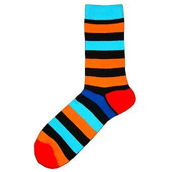 Bassin ve Kahverengi Çok Çizgili Zıt Topuk ve Ayak Altı Çorapları - Siyah/Mavi/Turuncu