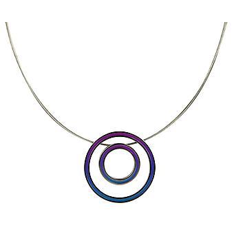 Ti2 Titanium Retro Double Pendant and Wire Cable Necklace - Blue/Purple