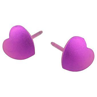 Ti2 titaani geometrinen sydän korvakorut - Candy Pink