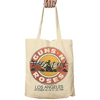 Official Guns N Roses Tote Bag Live LA October 1989 Pistols Band Logo new Fabric