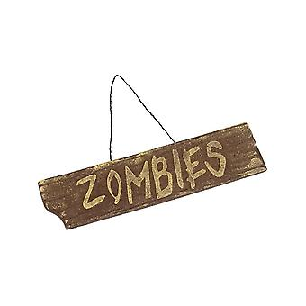 Smiffy's Hanging Zombies Sign, Brown, Driftwood Effect