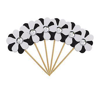 6PC Flicker Flower Petal Cake Toppers White