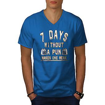 Funy Pun Calendar Men Royal BlueV-Neck T-shirt   Wellcoda