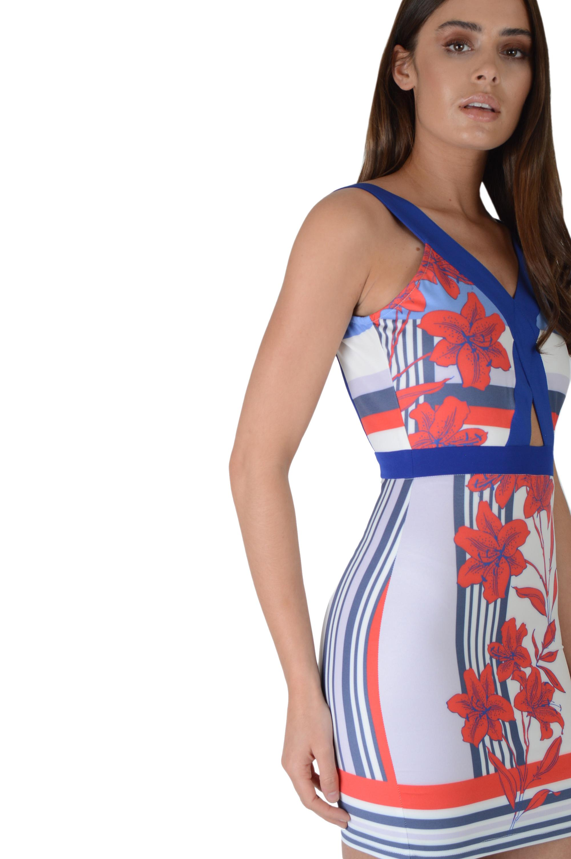 LMS White Printed Bodycon Dress With Contrasting Blue Hemline