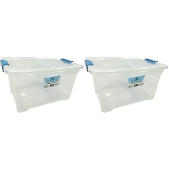 2 x 18 Litre Storage Box And Lid With Clips Storage Furniture